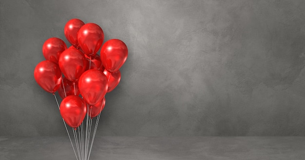 Red balloons bunch on a grey wall background. horizontal banner. 3d illustration render