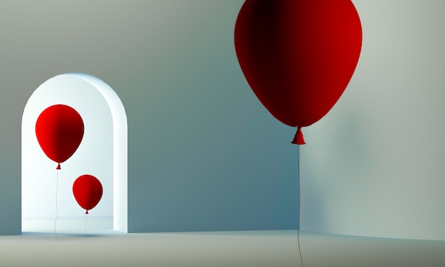 Palloncini rossi all'interno della stanza