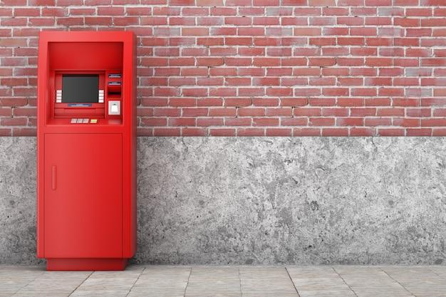 벽돌 벽 앞에 있는 레드 뱅크 현금 atm 기계. 3d 렌더링