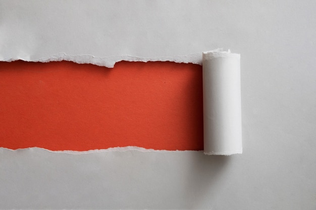 Red banner framed by a strip of torn grey paper rolled back neatly to reveal the copyspace for your text
