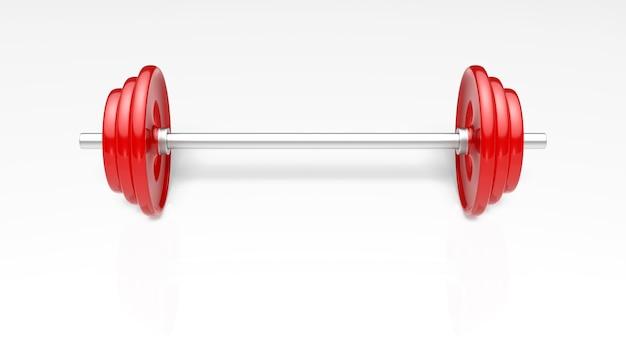 Красные штанги больше веса для фитнеса и упражнений.