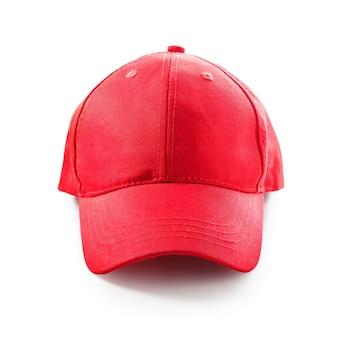白い背景で隔離の赤い野球帽。スポーツハット。クリッピングパスを持つ単一のオブジェクト