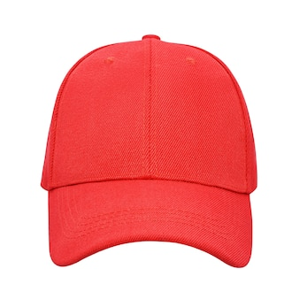 Red baseball cap isolated on white background with clipping path