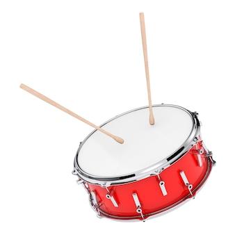 白い背景の上のドラムスティックのペアと赤いバスドラム。 3dレンダリング