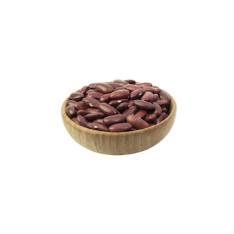 Red beans in brown wooden bowl isolated on white