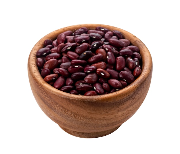 Red beans in wooden bowl isolated