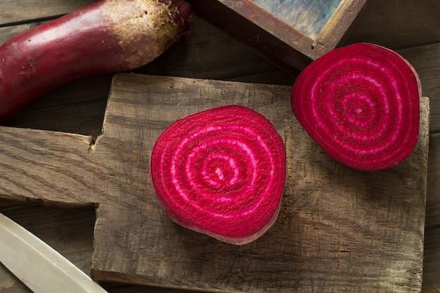 Red beet is cut.