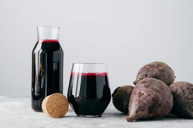 Red beetroot juice in glass containers