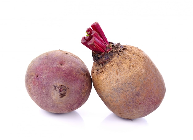 Red beetroot on white background