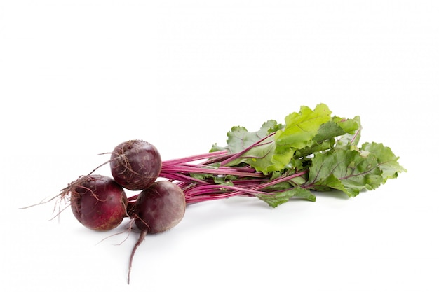 Red beetroot with greens