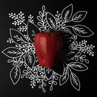 Red bell pepper over outline floral hand drawn