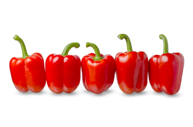 Red bell peppers on a white background