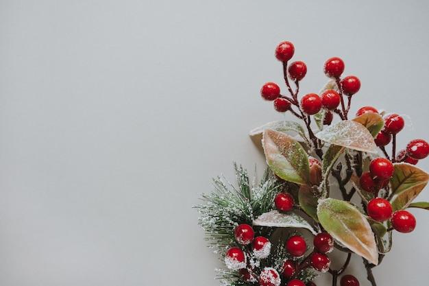 中立的な表面に赤いベリーとモミの針の花束
