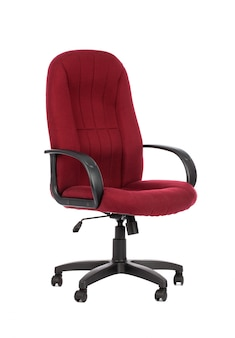 Red big office chair, isolated