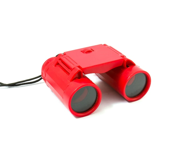 Red binocular isolated on white