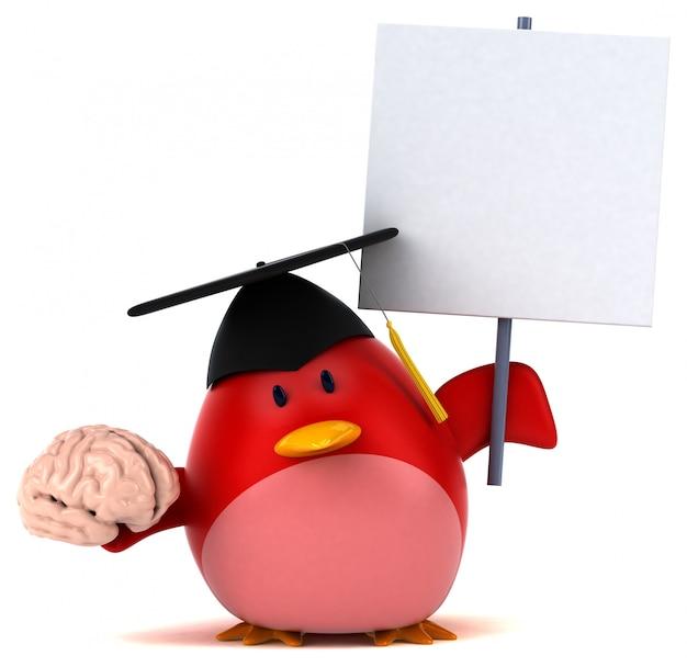 Red bird 3d illustration