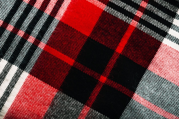 Red and black checkered woolen textile