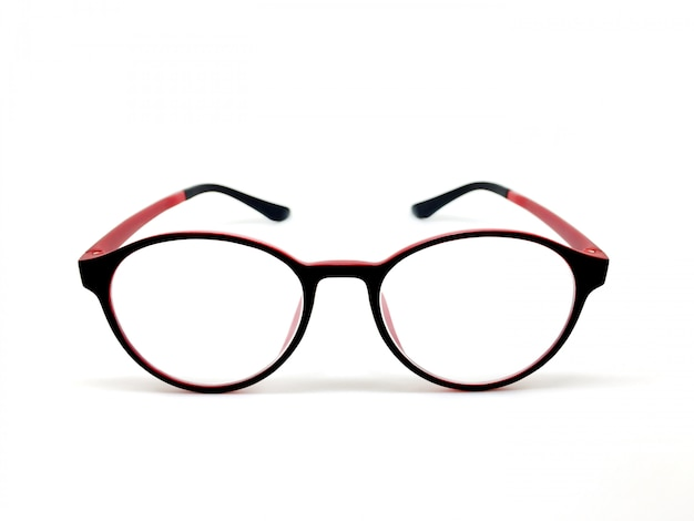 7b74a65427 Red-black color eyeglasses isolated for model icons on white background.