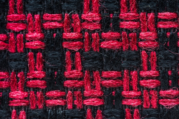 Red and black fabric closeup