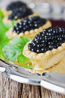 Red and black fish caviar