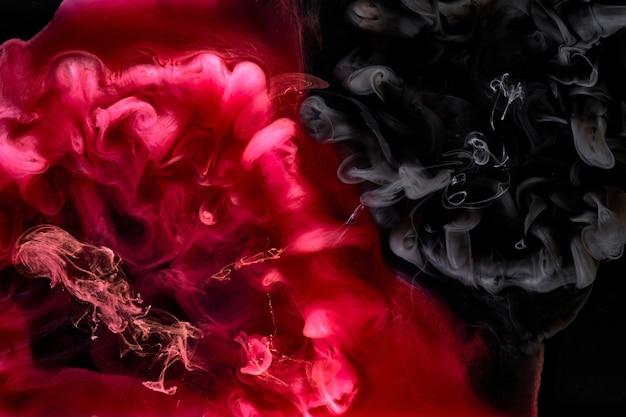 빨간색 검은색 안료 소용돌이 잉크 추상적 인 배경, 액체 연기 페인트 수중