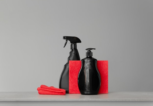 Red and black set of tools and tools for cleaning the kitchen