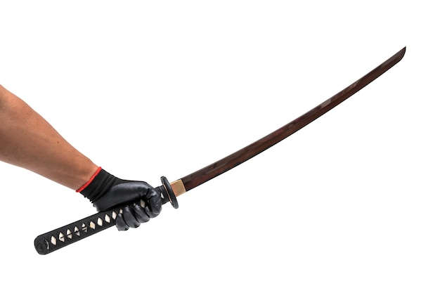 Red blade long sword, knife on hand with black glove