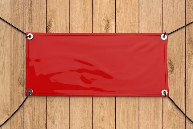 밧줄에 매달려 빨간색 빈 비닐 배너