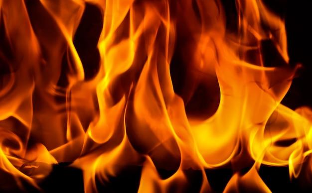 黒の背景に赤い炎の火の炎