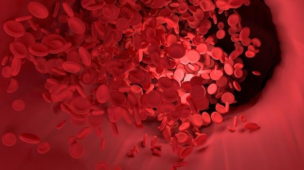 Красная кровяная клетка в кровеносном сосуде тела.