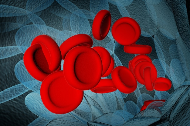 Red blood cells 3d rendering