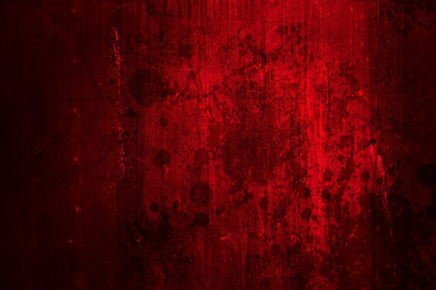 Red bloody dirty grunge for horror crime scene scary wall for background.