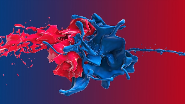 Red and blue abstract liquid collide in a splash 3d illustration