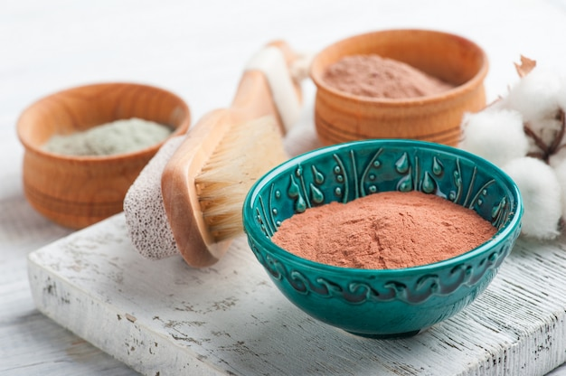 Red and blue cosmetic moroccan clay