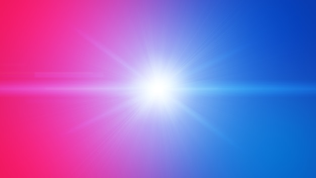 Red blue flare light beam explosion effect abstract background.