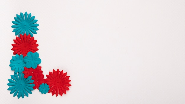 Red and blue flower on the corner of white backdrop