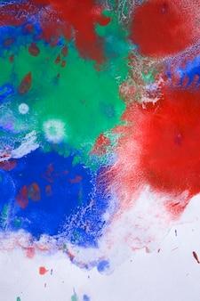 赤、青、緑のインク滴が紙に広がる