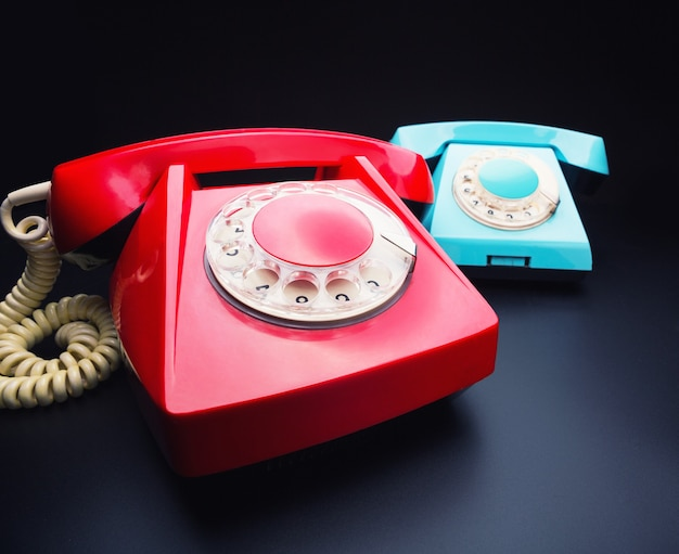 Red and blue telephones