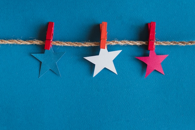 Red blue and white stars on rope
