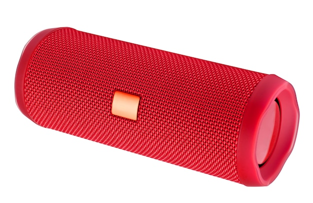 Red bluetooth speakers on white