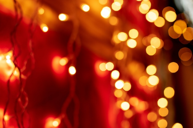 Red bokeh blurred lights background.