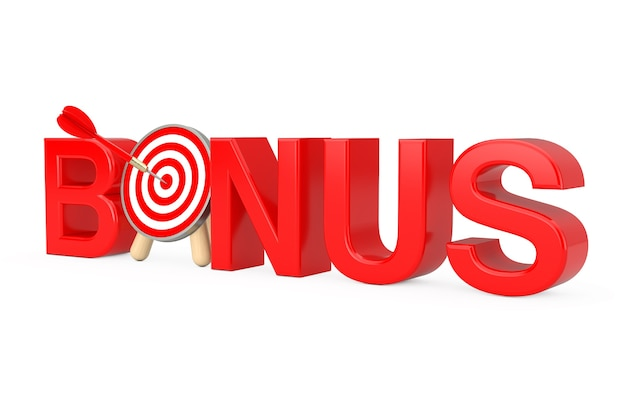 Red bonus sign and archery target with dart in center on a white background. 3d rendering
