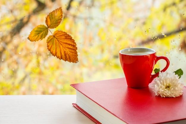 흐릿한 자연 배경에 물방울이 있는 창문 유리에 빨간 책, 커피 한 잔, 흰 꽃, 마른 잎. 낙엽과 비가 배경에 가을 나무가 있는 창틀에 떨어집니다.