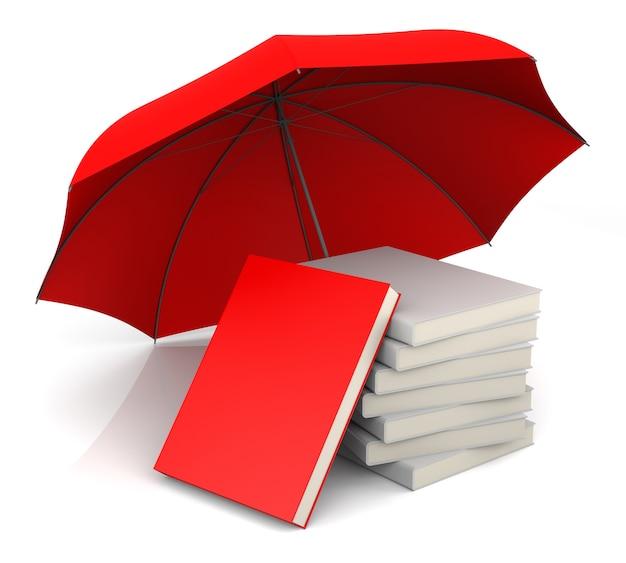 Красная книга с красным зонтиком. 3d-рендеринг