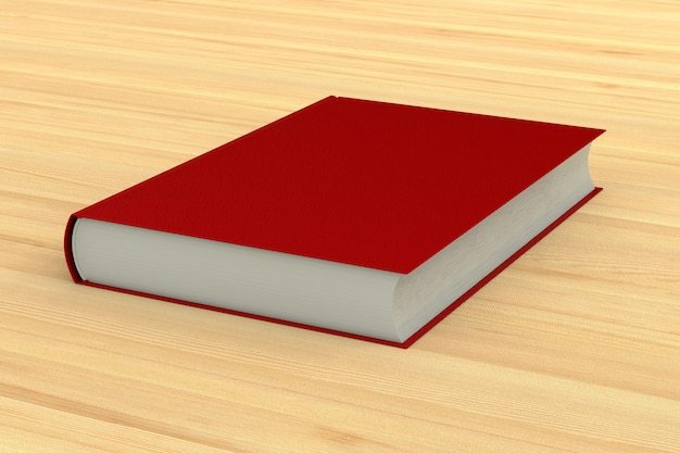 Red book on wooden table. 3d illustration