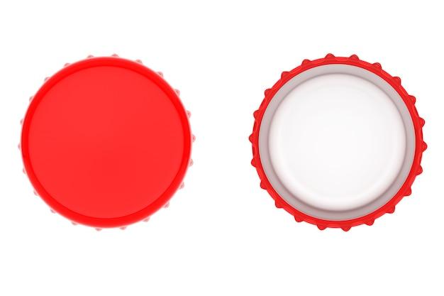 Красные крышки от бутылок на белом фоне