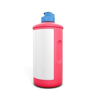 白い背景で隔離の洗剤の赤いボトル。 3dイラスト。あなたのデザインのための洗剤の赤いボトル。