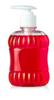 Red bottle with liquid soap and dispenser isolated on white background
