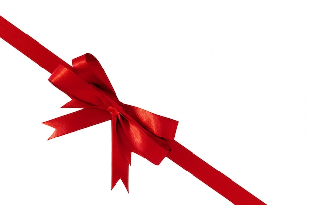 Red bow gift ribbon corner diagonal