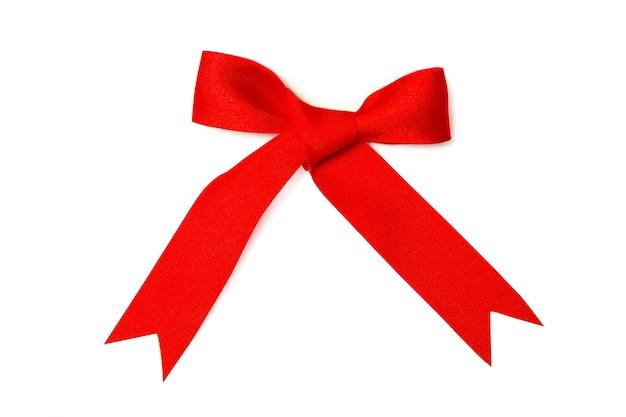 白い背景の上の赤い弓